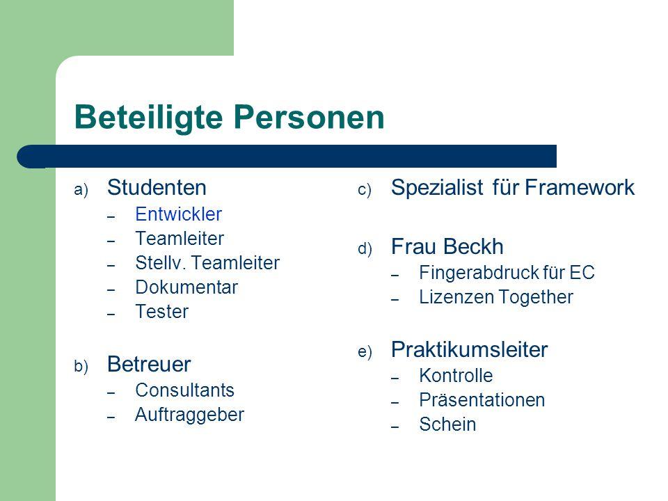 Beteiligte Personen a) Studenten – Entwickler – Teamleiter – Stellv. Teamleiter – Dokumentar – Tester b) Betreuer – Consultants – Auftraggeber c) Spez