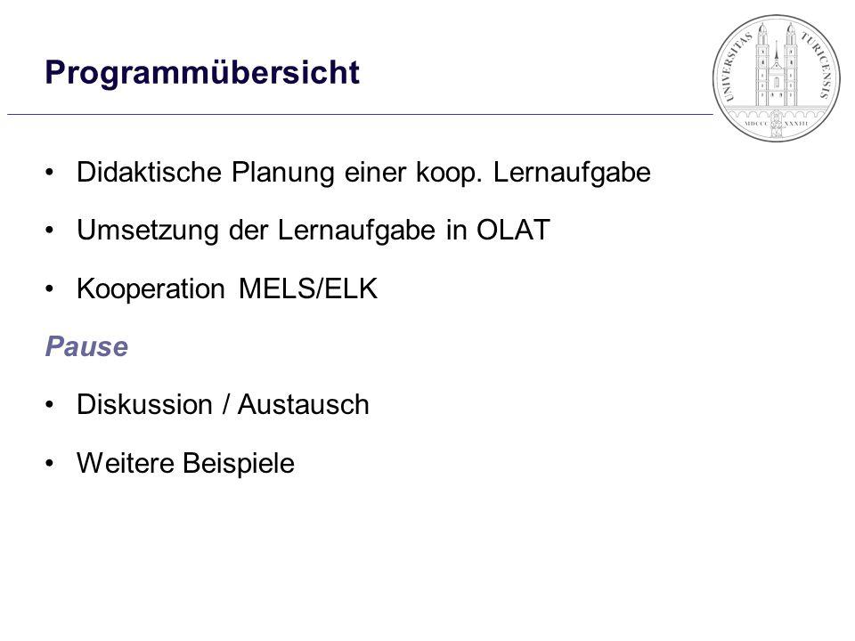 Programmübersicht Didaktische Planung einer koop. Lernaufgabe Umsetzung der Lernaufgabe in OLAT Kooperation MELS/ELK Pause Diskussion / Austausch Weit