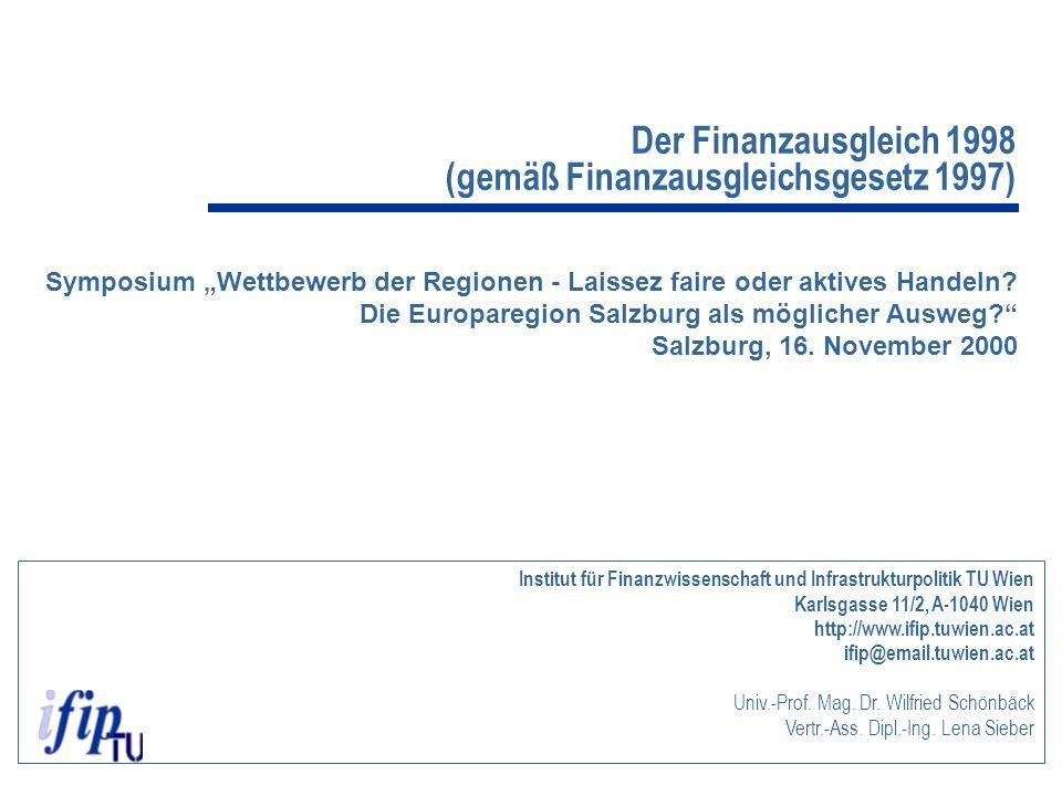 """Der Finanzausgleich 1998 (gemäß Finanzausgleichsgesetz 1997) Symposium """"Wettbewerb der Regionen - Laissez faire oder aktives Handeln? Die Europaregion"""