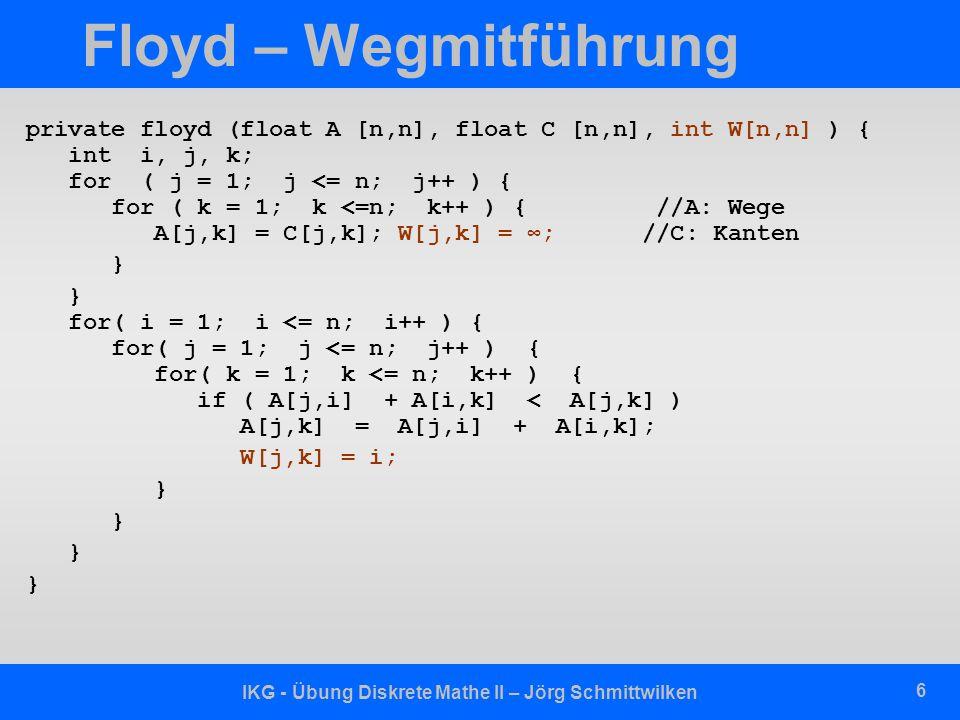 IKG - Übung Diskrete Mathe II – Jörg Schmittwilken 6 Floyd – Wegmitführung private floyd (float A [n,n], float C [n,n], int W[n,n] ) { int i, j, k; fo
