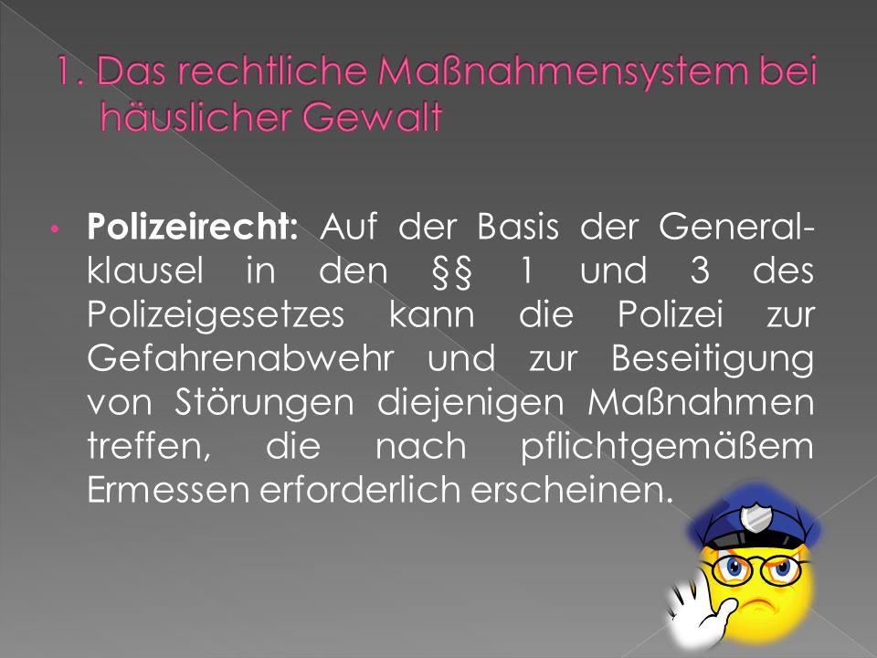 Polizeirecht: Auf der Basis der General- klausel in den §§ 1 und 3 des Polizeigesetzes kann die Polizei zur Gefahrenabwehr und zur Beseitigung von Störungen diejenigen Maßnahmen treffen, die nach pflichtgemäßem Ermessen erforderlich erscheinen.