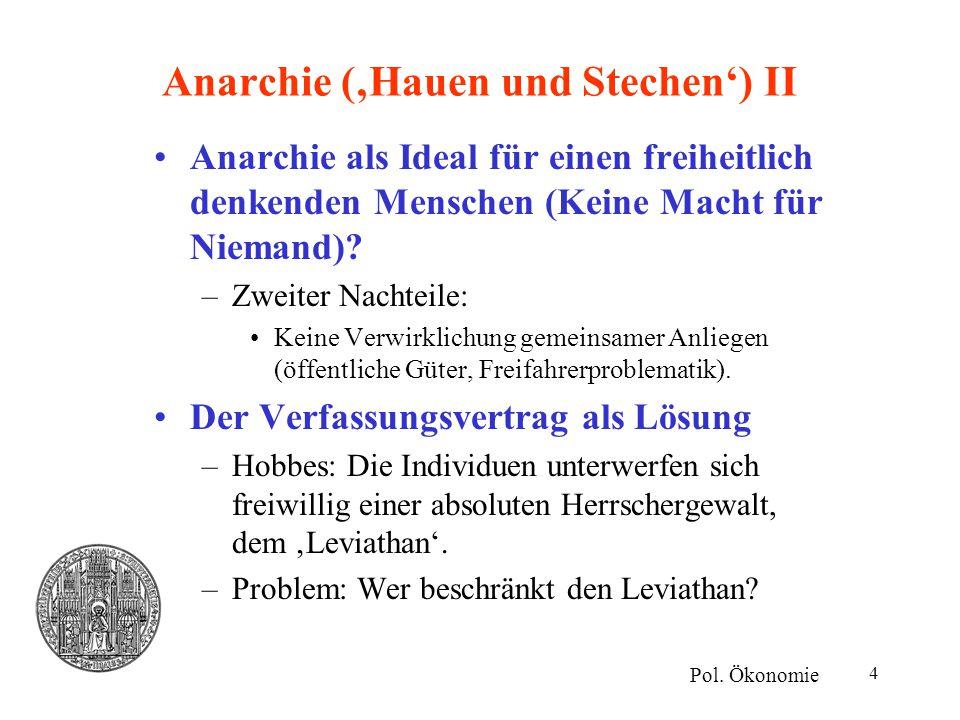 15 Von Hayeks Theorien der sozioökonomischen Evolution II Spontane Ordnung –Entsteht endogen durch gegenseitige Anpassung der Akteure.