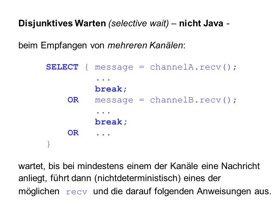 Disjunktives Warten (selective wait) – nicht Java - beim Empfangen von mehreren Kanälen: SELECT { message = channelA.recv();...