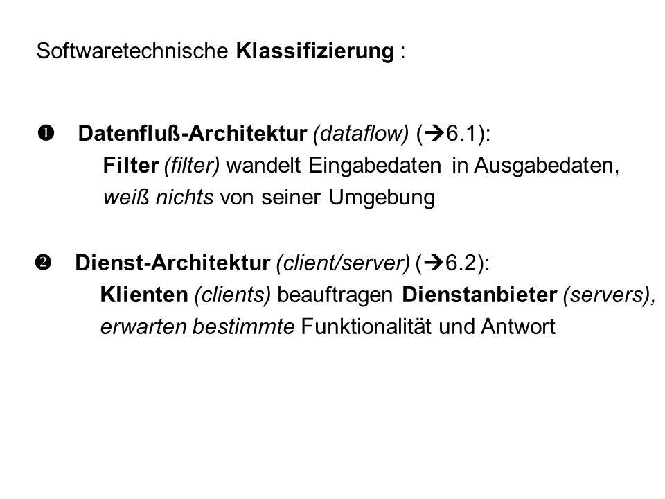 Softwaretechnische Klassifizierung :  Datenfluß-Architektur (dataflow) (  6.1): Filter (filter) wandelt Eingabedaten in Ausgabedaten, weiß nichts von seiner Umgebung  Dienst-Architektur (client/server) (  6.2): Klienten (clients) beauftragen Dienstanbieter (servers), erwarten bestimmte Funktionalität und Antwort