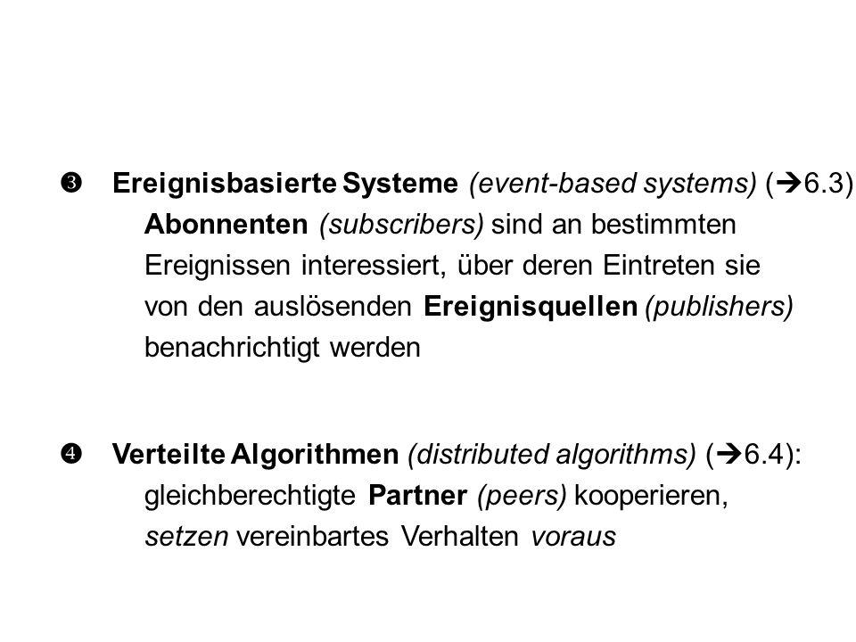  Verteilte Algorithmen (distributed algorithms) (  6.4): gleichberechtigte Partner (peers) kooperieren, setzen vereinbartes Verhalten voraus  Ereignisbasierte Systeme (event-based systems) (  6.3): Abonnenten (subscribers) sind an bestimmten Ereignissen interessiert, über deren Eintreten sie von den auslösenden Ereignisquellen (publishers) benachrichtigt werden