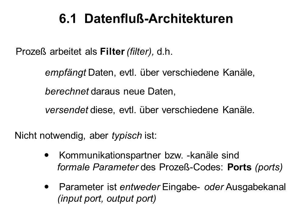 6.1 Datenfluß-Architekturen Prozeß arbeitet als Filter (filter), d.h.