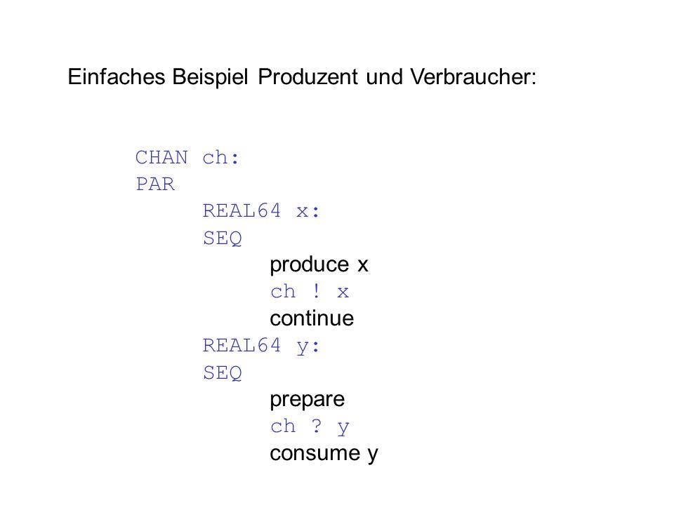 Einfaches Beispiel Produzent und Verbraucher: CHAN ch: PAR REAL64 x: SEQ produce x ch .