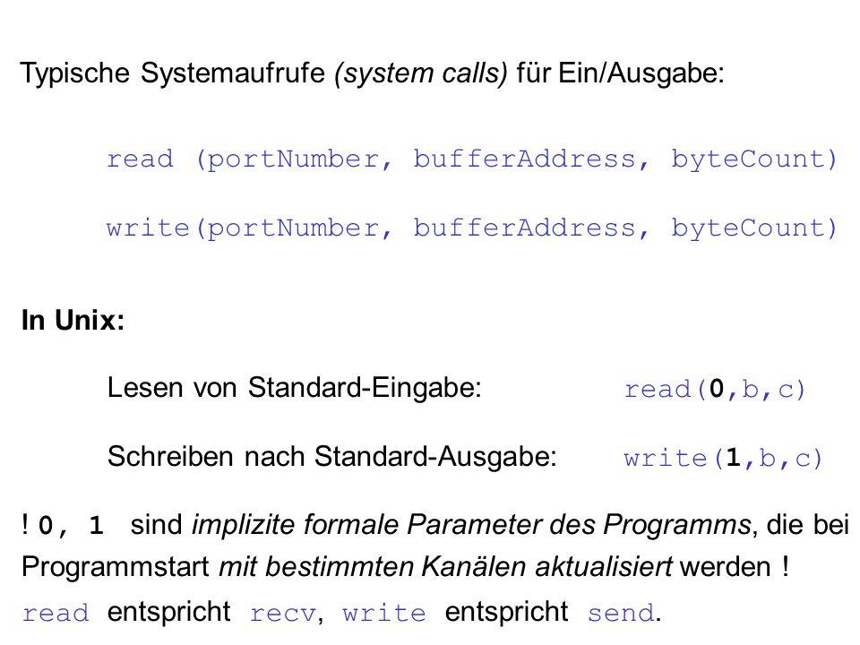 Typische Systemaufrufe (system calls) für Ein/Ausgabe: read (portNumber, bufferAddress, byteCount) write(portNumber, bufferAddress, byteCount) In Unix: Lesen von Standard-Eingabe: read(0,b,c) Schreiben nach Standard-Ausgabe: write(1,b,c) .