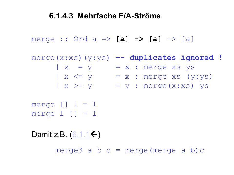 merge :: Ord a => [a] -> [a] -> [a] merge(x:xs)(y:ys) –- duplicates ignored .