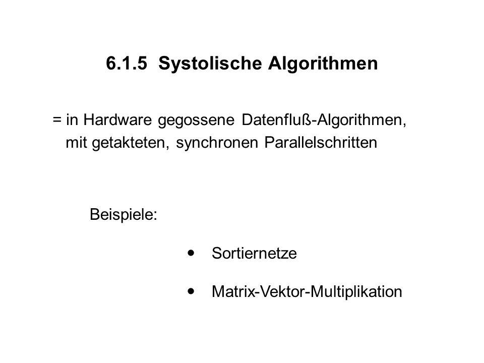 6.1.5 Systolische Algorithmen = in Hardware gegossene Datenfluß-Algorithmen, mit getakteten, synchronen Parallelschritten Beispiele:  Sortiernetze  Matrix-Vektor-Multiplikation