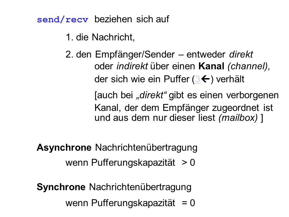 Asynchrone Nachrichtenübertragung wenn Pufferungskapazität > 0 Synchrone Nachrichtenübertragung wenn Pufferungskapazität = 0 send/recv beziehen sich auf 1.