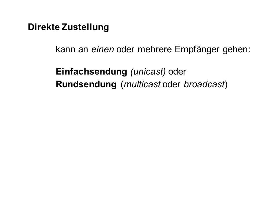Direkte Zustellung kann an einen oder mehrere Empfänger gehen: Einfachsendung (unicast) oder Rundsendung (multicast oder broadcast)
