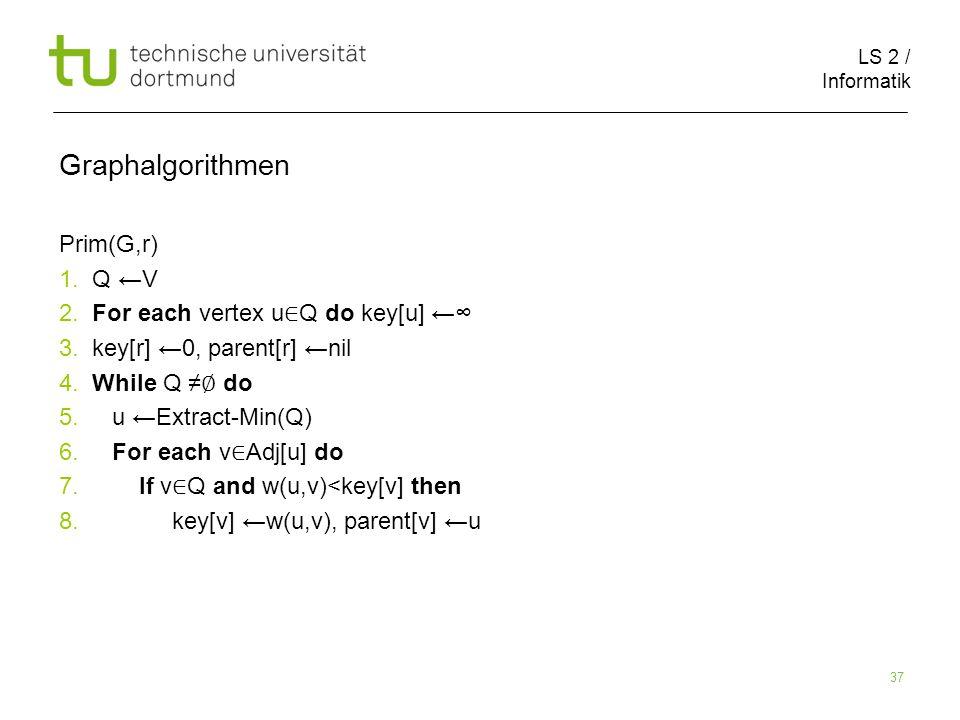 LS 2 / Informatik 37 Graphalgorithmen Prim(G,r) 1.