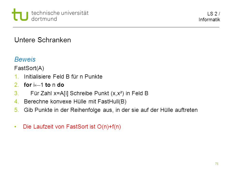 LS 2 / Informatik 76 Untere Schranken Beweis FastSort(A) 1.