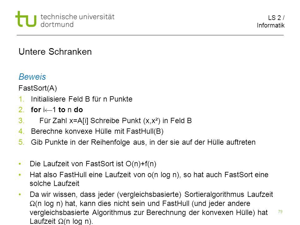 LS 2 / Informatik 79 Untere Schranken Beweis FastSort(A) 1.