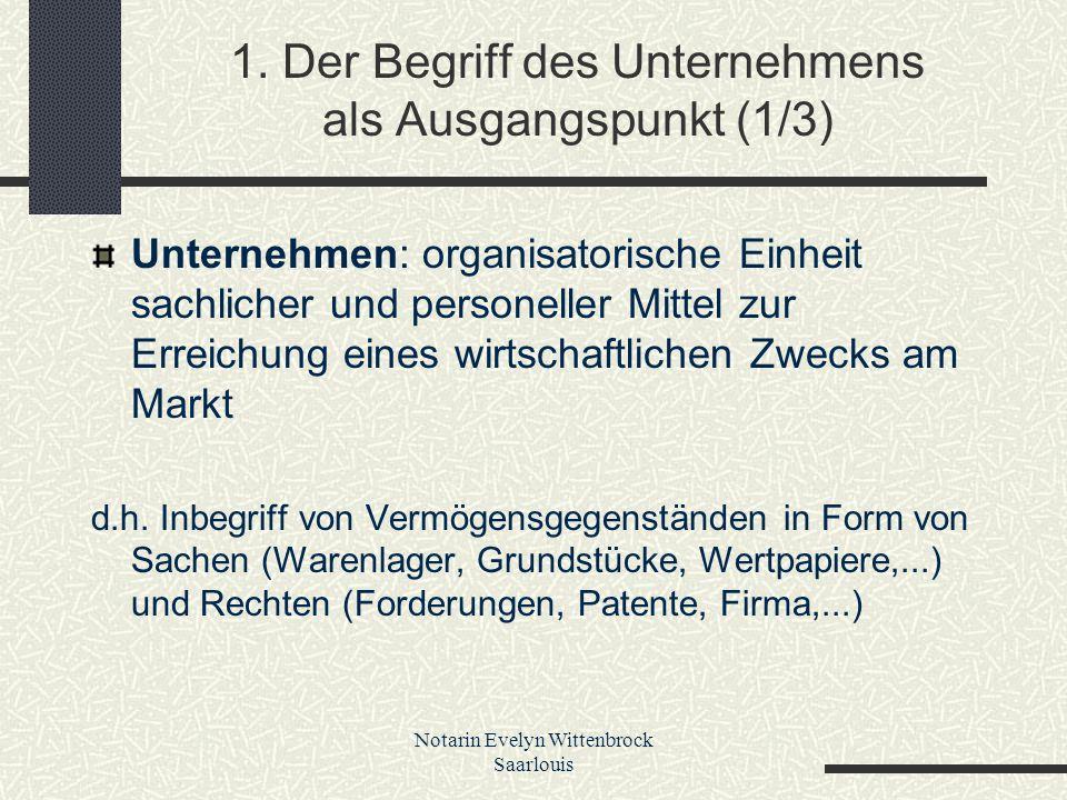 Notarin Evelyn Wittenbrock Saarlouis 1. Der Begriff des Unternehmens als Ausgangspunkt (1/3) Unternehmen: organisatorische Einheit sachlicher und pers