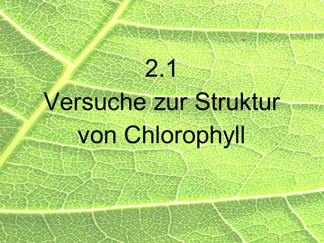 2.1 Versuche zur Struktur von Chlorophyll
