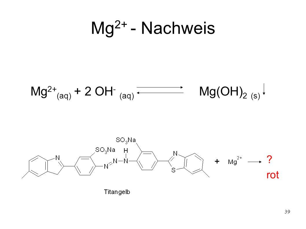 39 Mg 2+ - Nachweis Mg 2+ (aq) + 2 OH - (aq) Mg(OH) 2 (s) ? rot