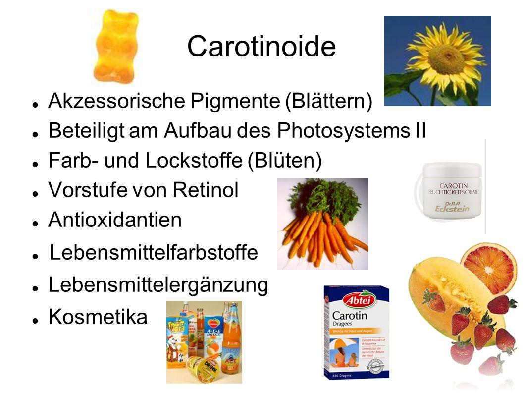 Akzessorische Pigmente (Blättern) Beteiligt am Aufbau des Photosystems II Farb- und Lockstoffe (Blüten) Vorstufe von Retinol Antioxidantien Lebensmi