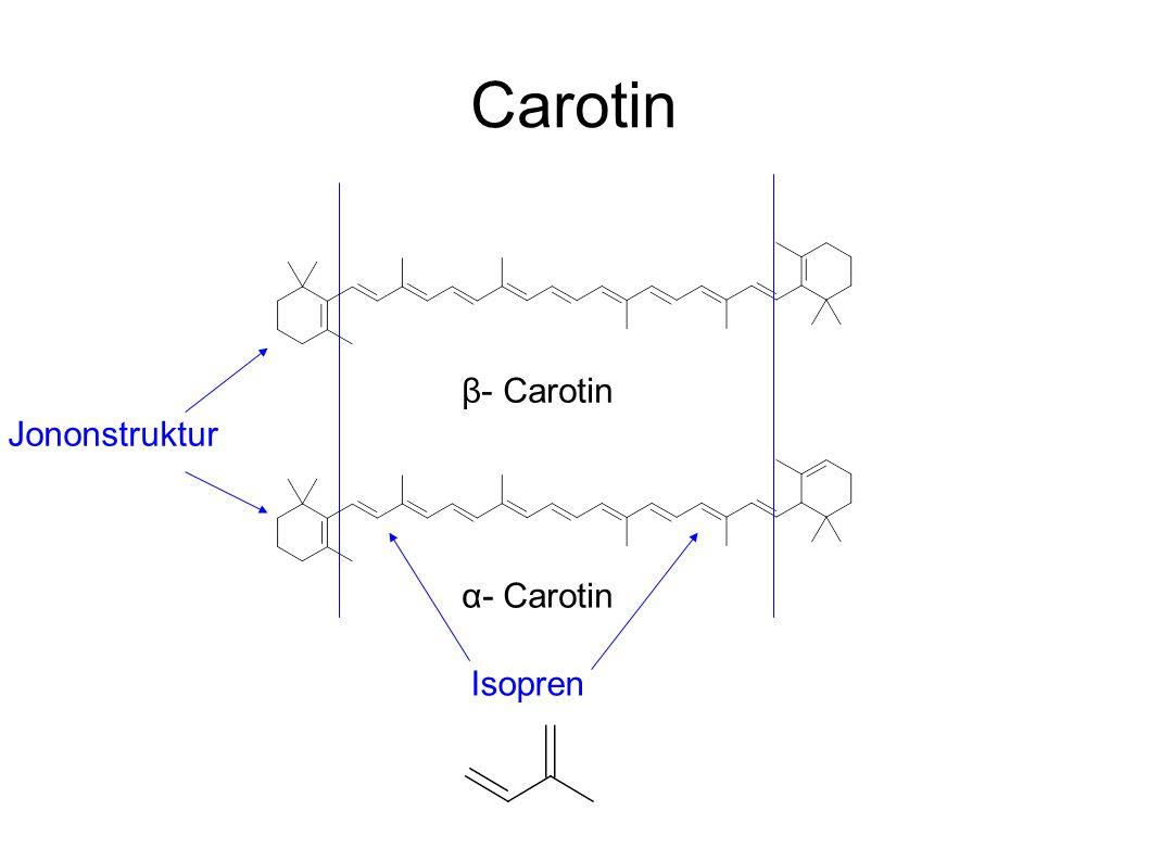 Carotin Isopren Jononstruktur β- Carotin α- Carotin