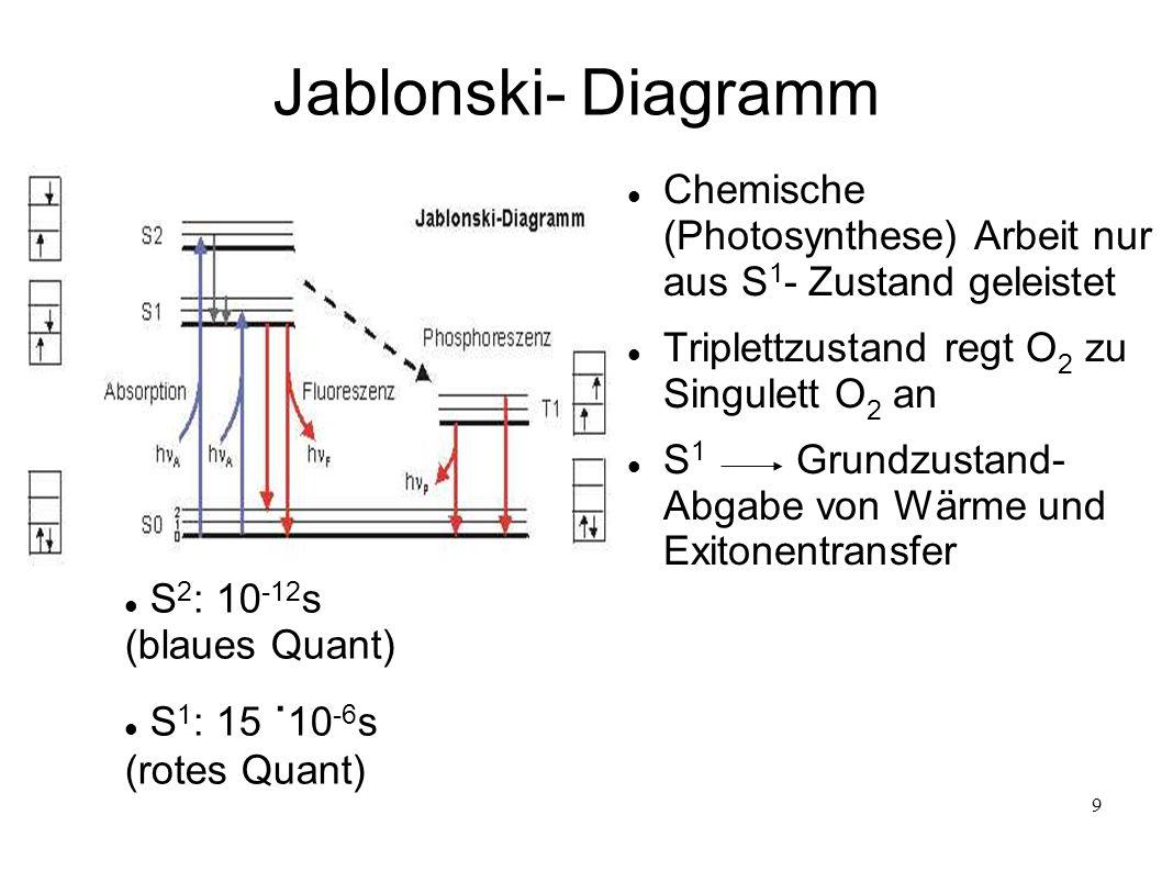 9 Jablonski- Diagramm Chemische (Photosynthese) Arbeit nur aus S 1 - Zustand geleistet Triplettzustand regt O 2 zu Singulett O 2 an S 1 Grundzustand-