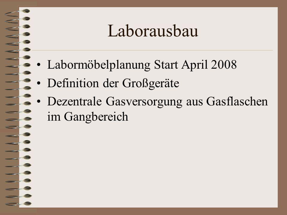 Laborausbau Labormöbelplanung Start April 2008 Definition der Großgeräte Dezentrale Gasversorgung aus Gasflaschen im Gangbereich