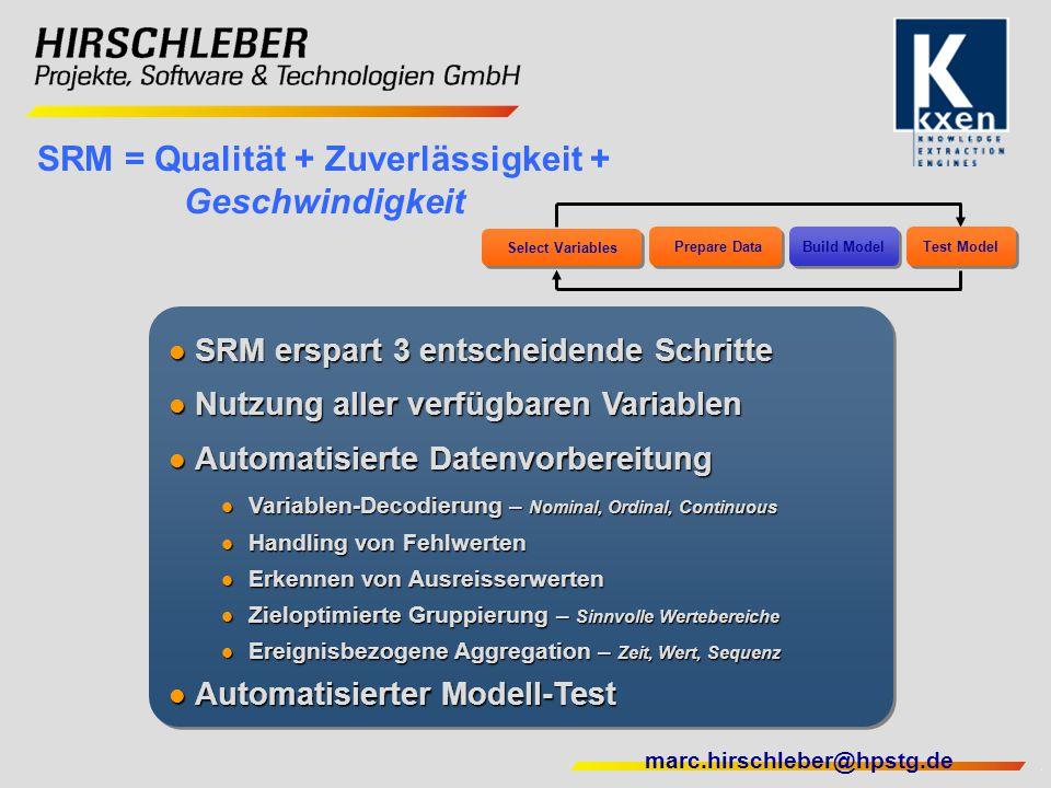 marc.hirschleber@hpstg.de SRM = Qualität + Zuverlässigkeit + Geschwindigkeit SRM erspart 3 entscheidende Schritte SRM erspart 3 entscheidende Schritte