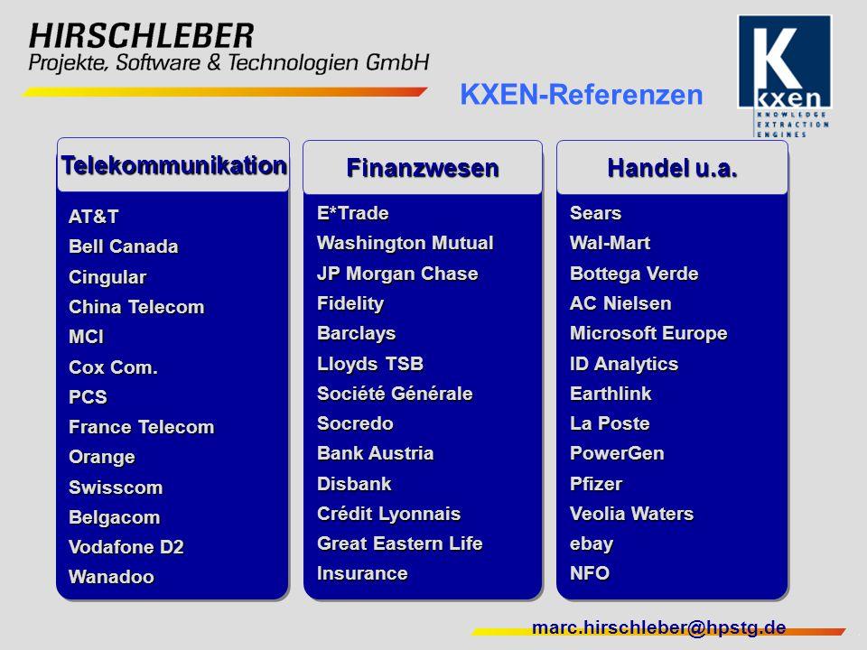 marc.hirschleber@hpstg.de SearsWal-Mart Bottega Verde AC Nielsen Microsoft Europe ID Analytics Earthlink La Poste PowerGenPfizer Veolia Waters ebayNFO
