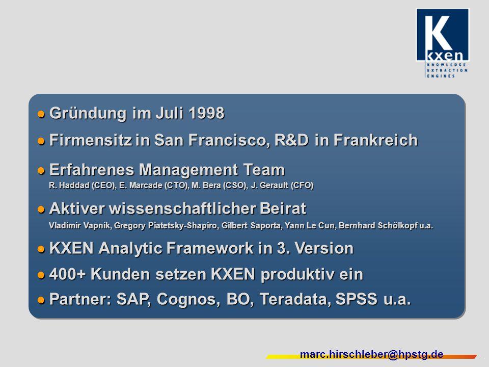 marc.hirschleber@hpstg.de Gründung im Juli 1998 Gründung im Juli 1998 Firmensitz in San Francisco, R&D in Frankreich Firmensitz in San Francisco, R&D