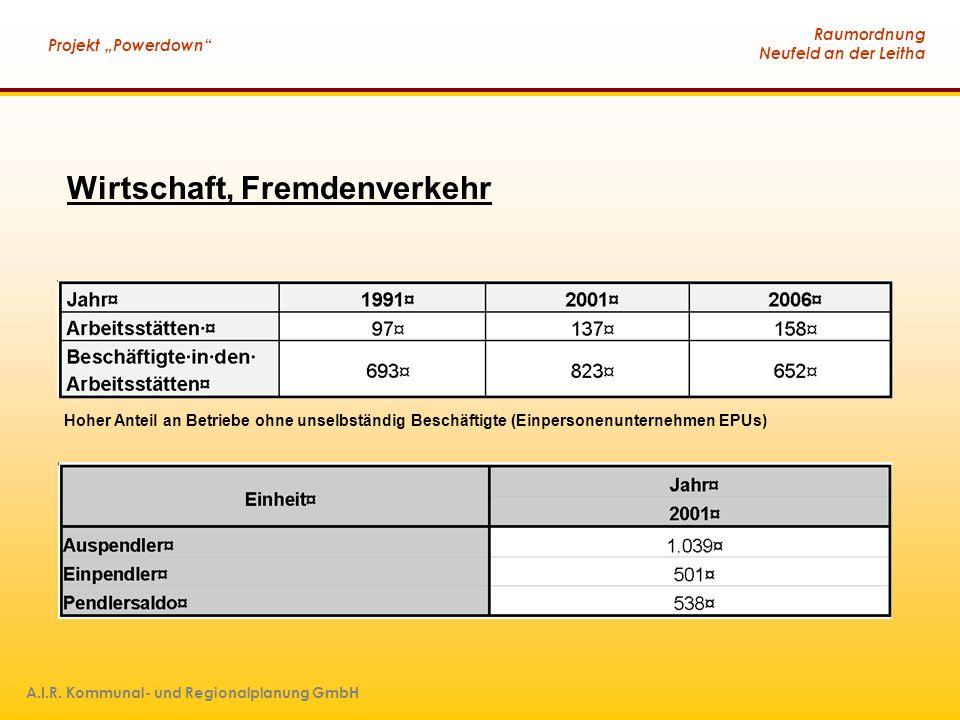"""Raumordnung Neufeld an der Leitha Projekt """"Powerdown"""" A.I.R. Kommunal- und Regionalplanung GmbH Hoher Anteil an Betriebe ohne unselbständig Beschäftig"""