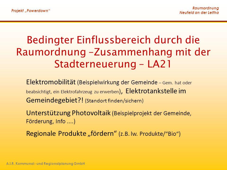 """Raumordnung Neufeld an der Leitha Projekt """"Powerdown A.I.R. Kommunal- und Regionalplanung GmbH"""