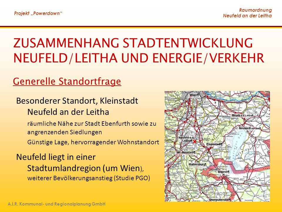 """Raumordnung Neufeld an der Leitha Projekt """"Powerdown"""" A.I.R. Kommunal- und Regionalplanung GmbH ZUSAMMENHANG STADTENTWICKLUNG NEUFELD/LEITHA UND ENERG"""