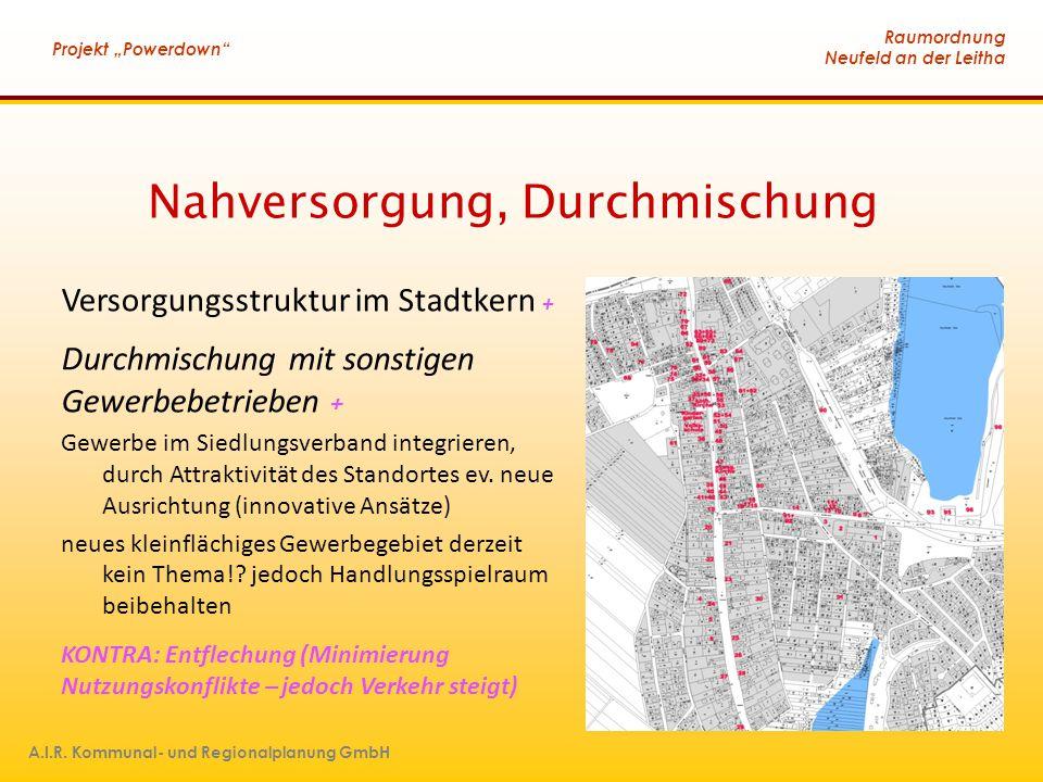 """Raumordnung Neufeld an der Leitha Projekt """"Powerdown"""" A.I.R. Kommunal- und Regionalplanung GmbH Nahversorgung, Durchmischung Versorgungsstruktur im St"""