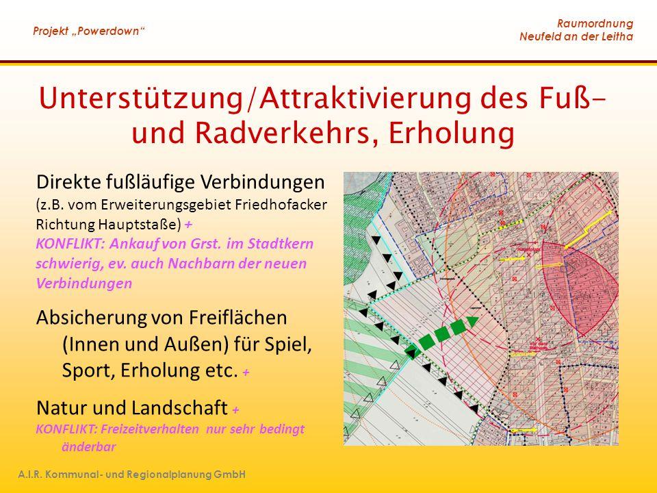 """Raumordnung Neufeld an der Leitha Projekt """"Powerdown"""" A.I.R. Kommunal- und Regionalplanung GmbH Unterstützung/Attraktivierung des Fuß- und Radverkehrs"""