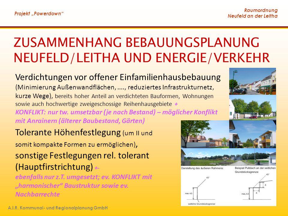 """Raumordnung Neufeld an der Leitha Projekt """"Powerdown"""" A.I.R. Kommunal- und Regionalplanung GmbH ZUSAMMENHANG BEBAUUNGSPLANUNG NEUFELD/LEITHA UND ENERG"""