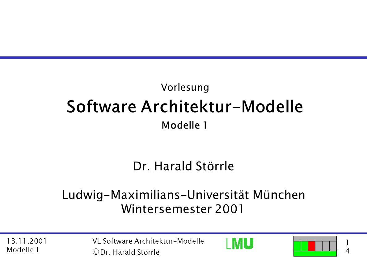 52 4 13.11.2001 Modelle 1 VL Software Architektur-Modelle  Dr.