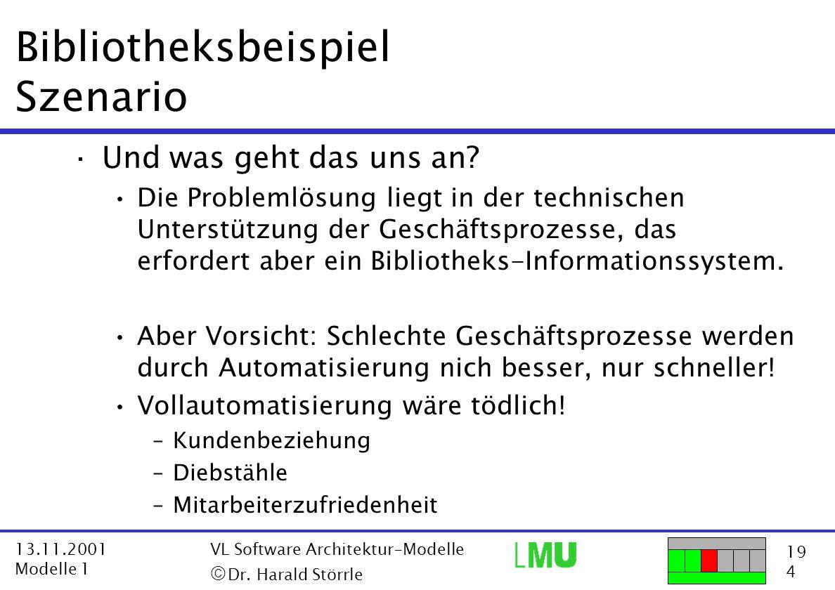 19 4 13.11.2001 Modelle 1 VL Software Architektur-Modelle  Dr. Harald Störrle Bibliotheksbeispiel Szenario ·Und was geht das uns an? Die Problemlösu