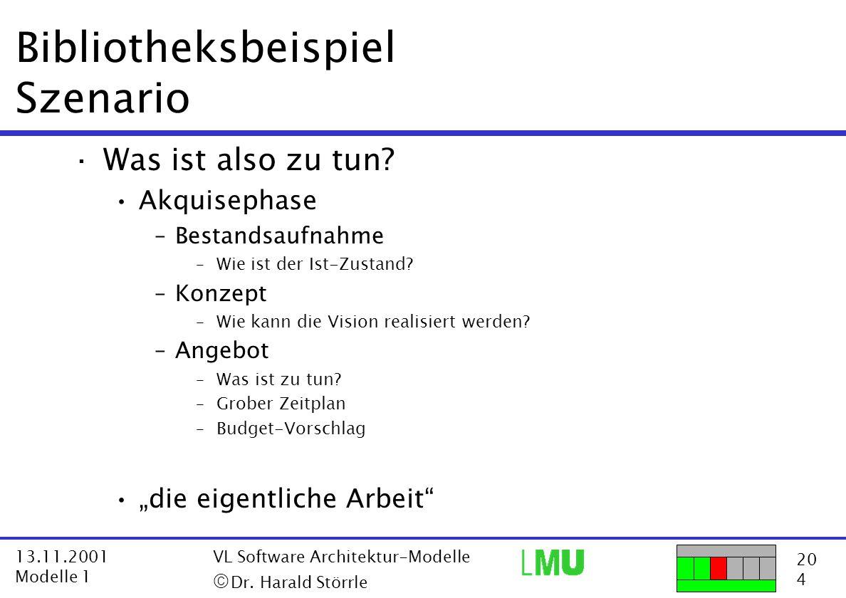 20 4 13.11.2001 Modelle 1 VL Software Architektur-Modelle  Dr. Harald Störrle Bibliotheksbeispiel Szenario ·Was ist also zu tun? Akquisephase –Besta