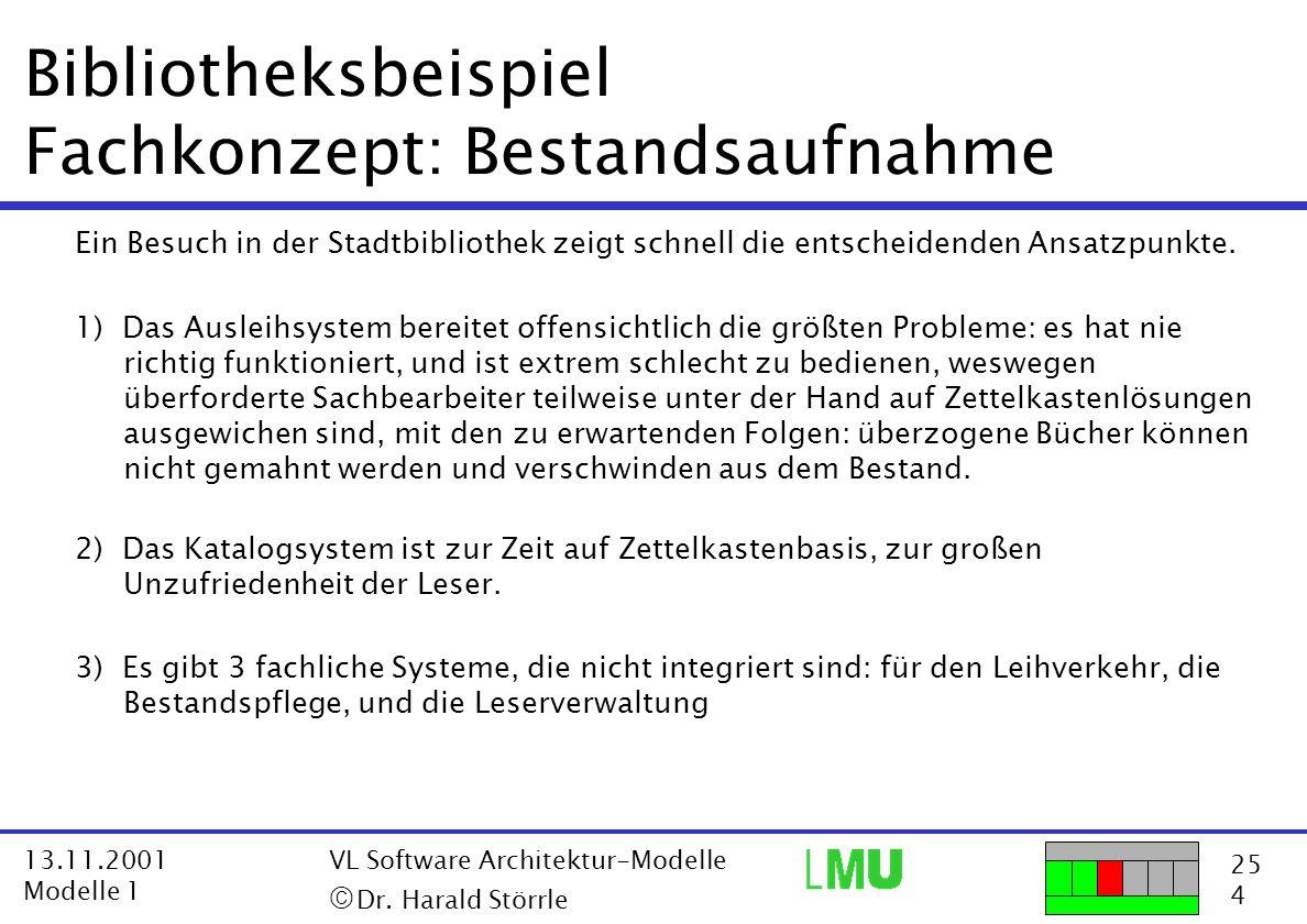25 4 13.11.2001 Modelle 1 VL Software Architektur-Modelle  Dr. Harald Störrle Bibliotheksbeispiel Fachkonzept: Bestandsaufnahme Ein Besuch in der St