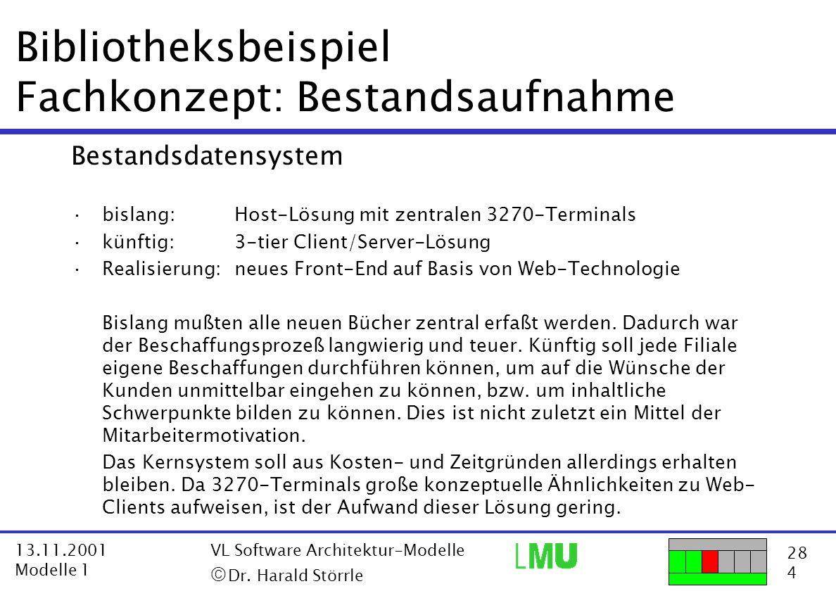 28 4 13.11.2001 Modelle 1 VL Software Architektur-Modelle  Dr. Harald Störrle Bibliotheksbeispiel Fachkonzept: Bestandsaufnahme Bestandsdatensystem