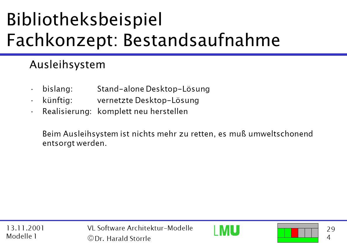 29 4 13.11.2001 Modelle 1 VL Software Architektur-Modelle  Dr. Harald Störrle Bibliotheksbeispiel Fachkonzept: Bestandsaufnahme Ausleihsystem ·bisla