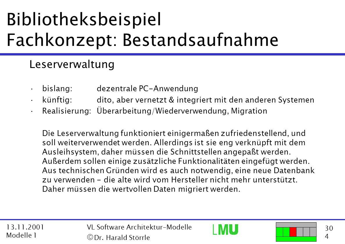 30 4 13.11.2001 Modelle 1 VL Software Architektur-Modelle  Dr. Harald Störrle Bibliotheksbeispiel Fachkonzept: Bestandsaufnahme Leserverwaltung ·bis