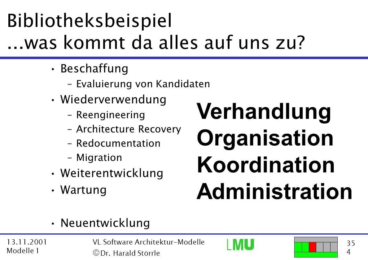 35 4 13.11.2001 Modelle 1 VL Software Architektur-Modelle  Dr. Harald Störrle Bibliotheksbeispiel...was kommt da alles auf uns zu? Beschaffung –Eval