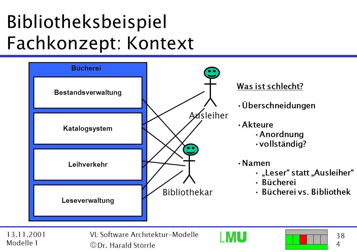 38 4 13.11.2001 Modelle 1 VL Software Architektur-Modelle  Dr. Harald Störrle Bibliotheksbeispiel Fachkonzept: Kontext Bestandsverwaltung Katalogsys