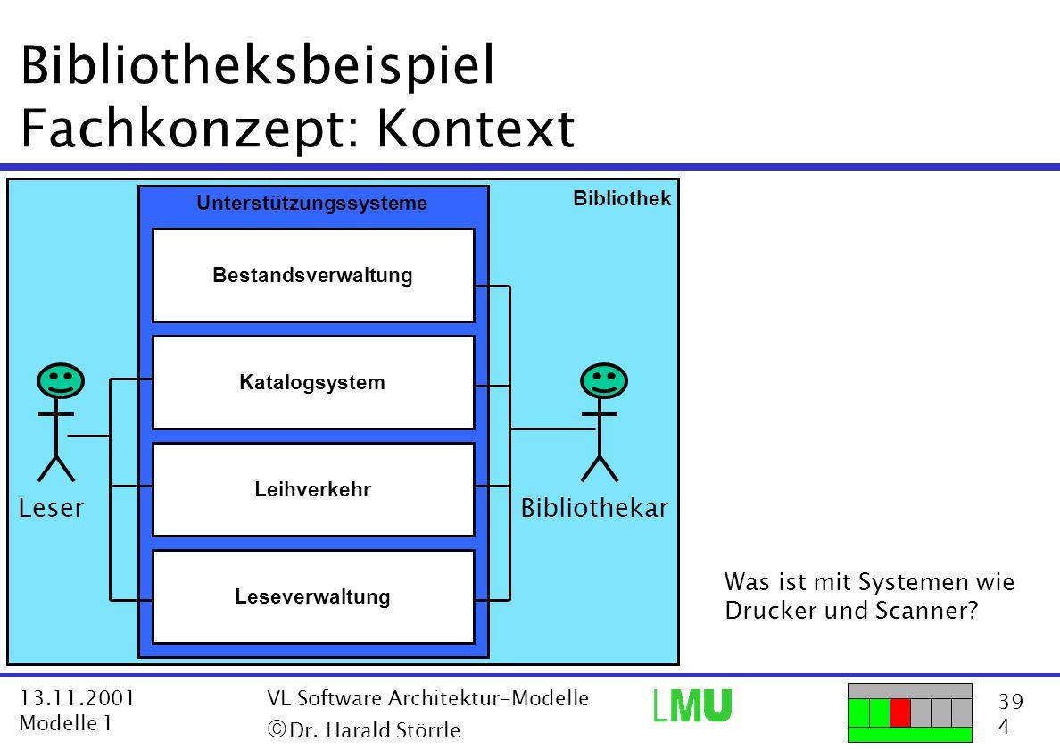 39 4 13.11.2001 Modelle 1 VL Software Architektur-Modelle  Dr. Harald Störrle Bibliotheksbeispiel Fachkonzept: Kontext Bestandsverwaltung Katalogsys