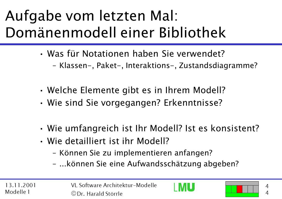 4444 13.11.2001 Modelle 1 VL Software Architektur-Modelle  Dr. Harald Störrle Was für Notationen haben Sie verwendet? –Klassen-, Paket-, Interaktion