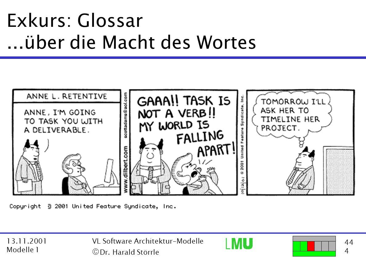 44 4 13.11.2001 Modelle 1 VL Software Architektur-Modelle  Dr. Harald Störrle Exkurs: Glossar...über die Macht des Wortes