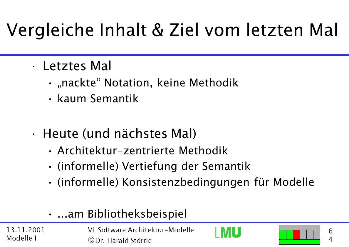"""6464 13.11.2001 Modelle 1 VL Software Architektur-Modelle  Dr. Harald Störrle Vergleiche Inhalt & Ziel vom letzten Mal ·Letztes Mal """"nackte"""" Notatio"""