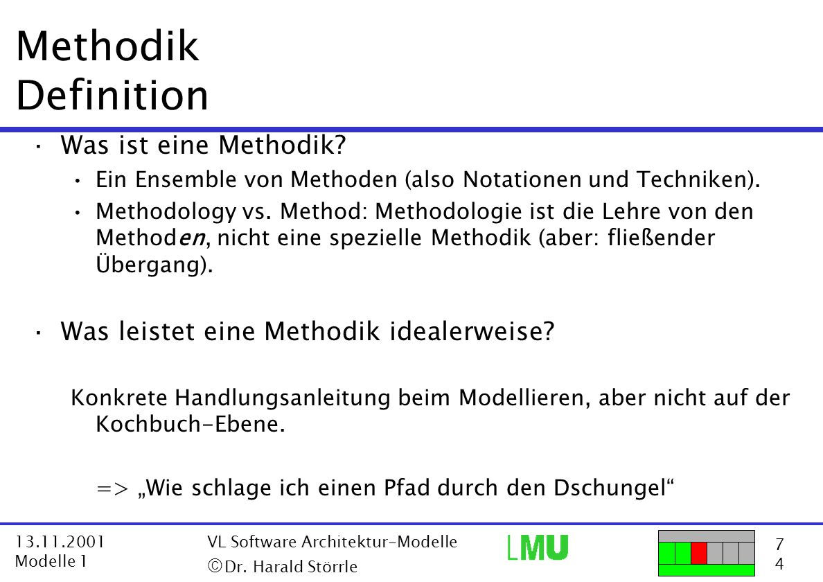 7474 13.11.2001 Modelle 1 VL Software Architektur-Modelle  Dr. Harald Störrle Methodik Definition ·Was ist eine Methodik? Ein Ensemble von Methoden