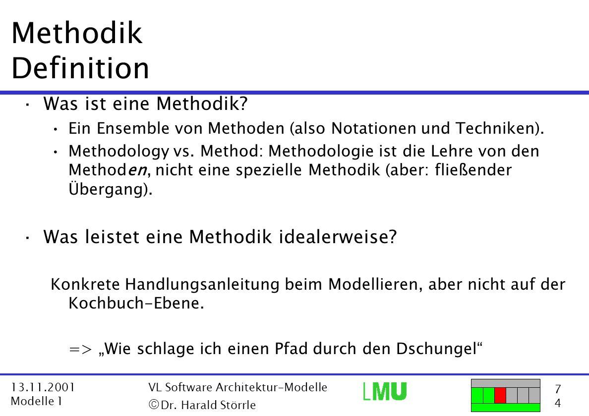 18 4 13.11.2001 Modelle 1 VL Software Architektur-Modelle  Dr.